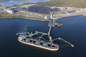 A large coal carrying ship being loaded at port. Shot from a helicopter (not through glass).